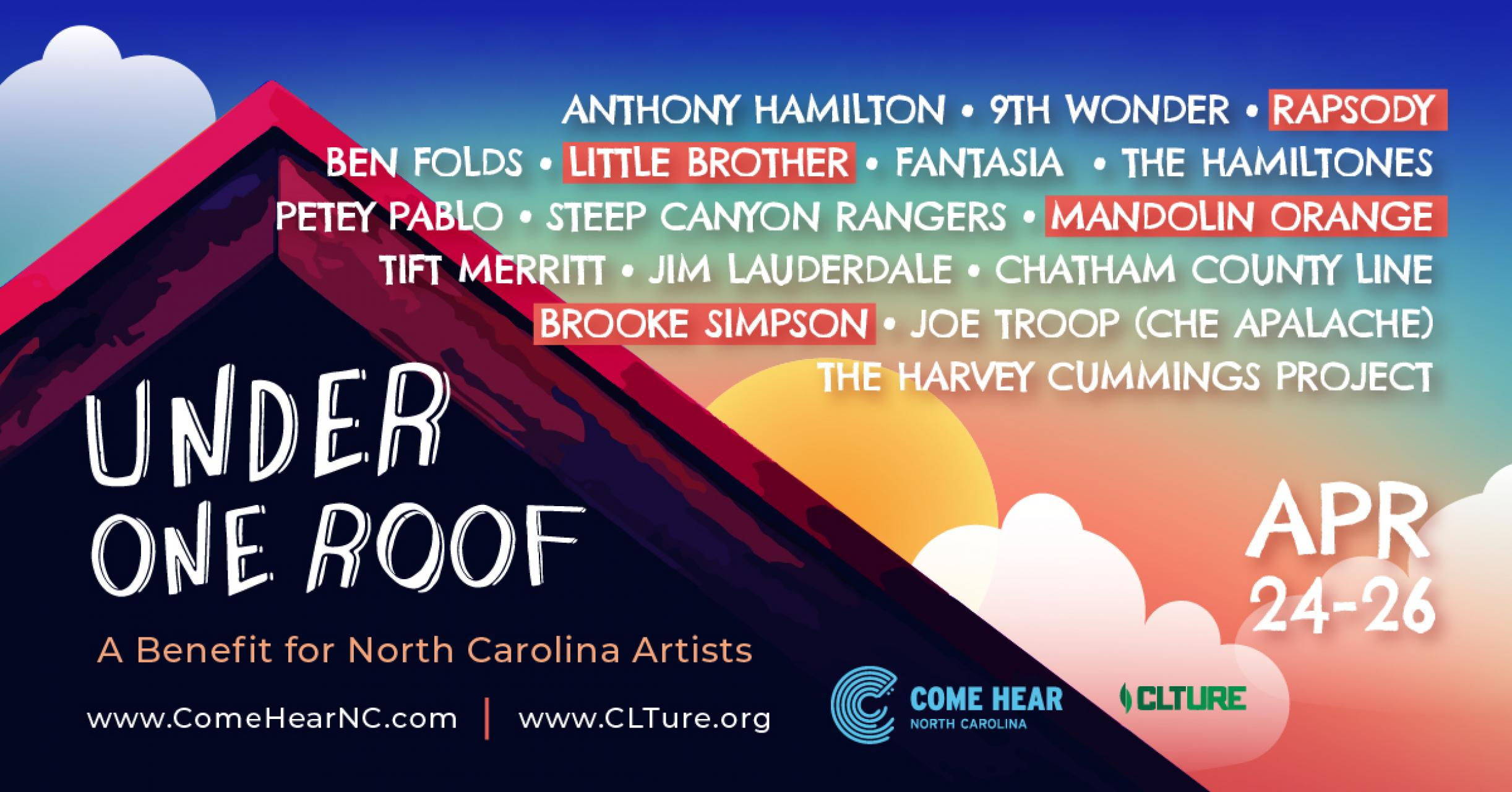 Under One Roof Music Festival Graphic With Line-Up Information