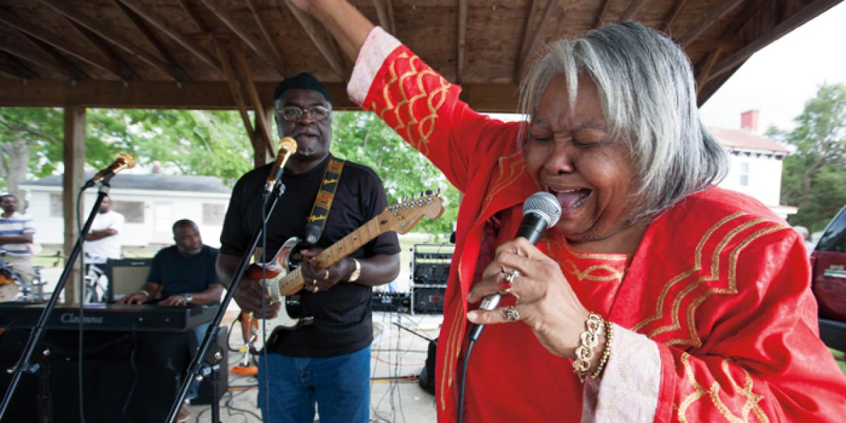 Pitt County gospel group, The Vines Sisters, perform at the Shad Festival in Grifton. Photo by Titus Brooks Heagins.