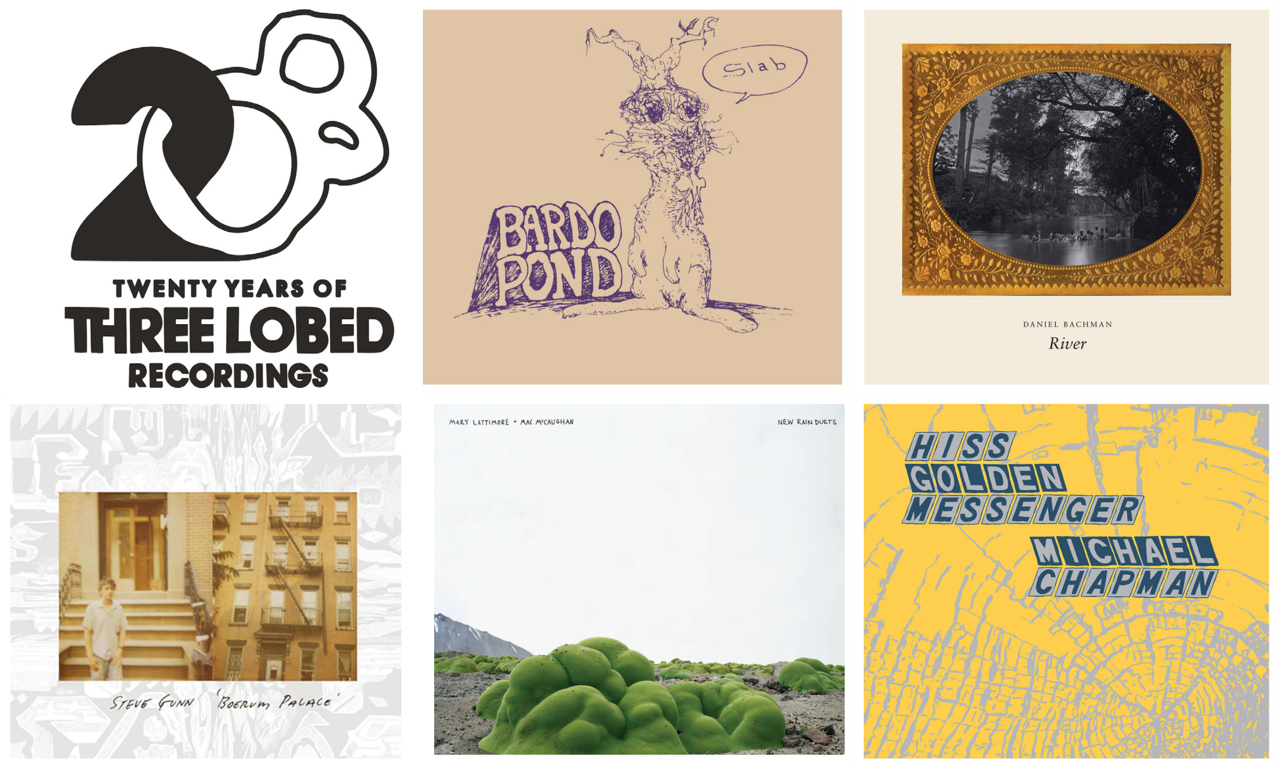 A collage of Three Lobed Records titles. Established in 2000, the label has released more than 100 titles and has become one of the country's premier syndicates for experimental rock and folk music.