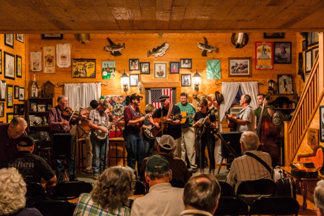 A packed house watching performers at Junior's Jam