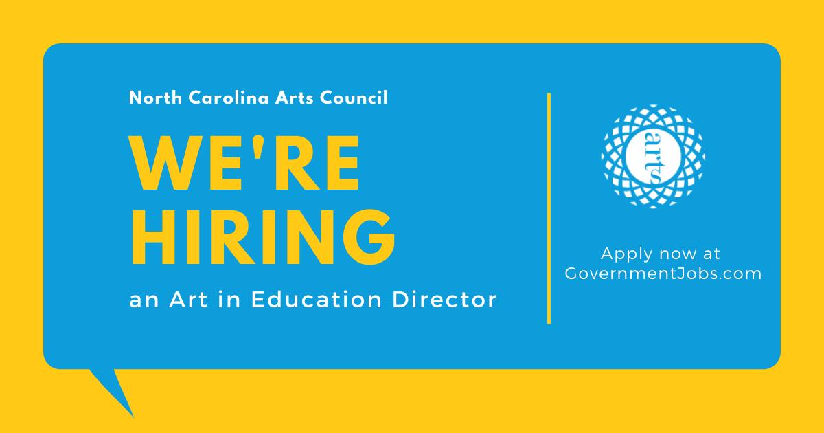 黄色背景和蓝色气泡. 里面的文字是:北卡罗莱纳艺术委员会. 我们正在招聘教育艺术总监. 现在就申请政府职位.com