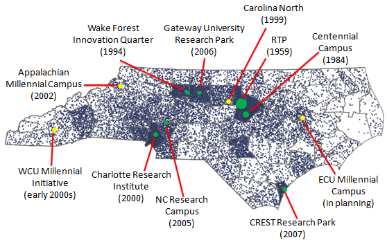map of NC research parks