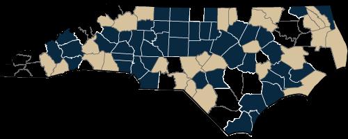 North Carolina Metro/Micro County Designation Map