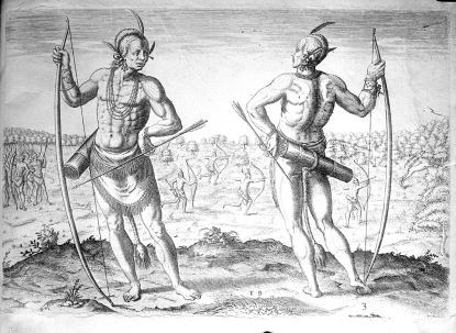 An engraving of Algonquian natives by John White. Image from the N.C. Museum of History
