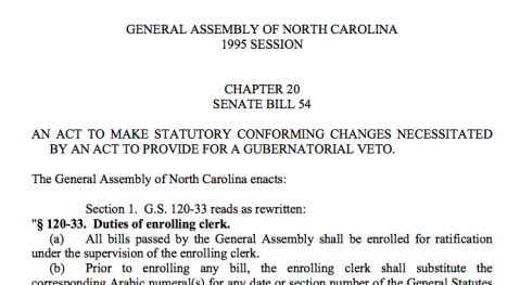 This is part of the legislation that gave the governor the power of the veto.