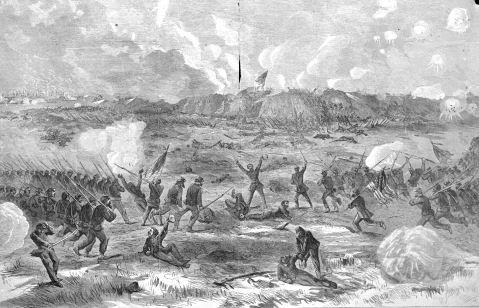 This is a drawn photo of the capture of Fort Fisher.