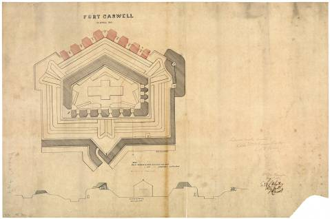 This is a Civil War map of Fort Caswell.