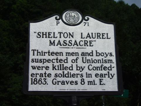 The NC Highway Historical Marker designating the site of the Shelton Laurel Massacre