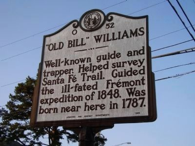 "The NC highway historical marker signifying the birthplace of ""Old Bill"" Williams"