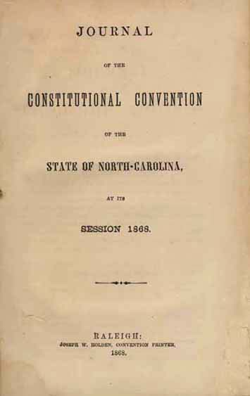 North Carolina Constitutional Convention Front Page