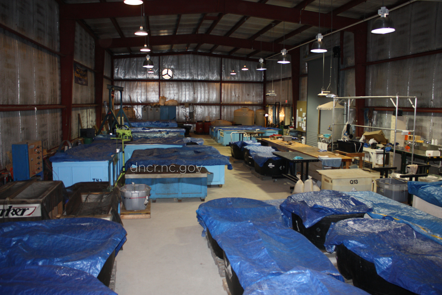 The warehouse where artifacts from Blackbeard's ship are stroed