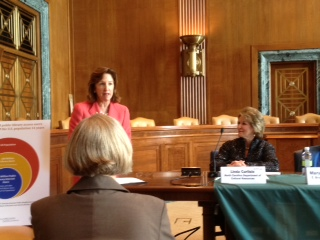 Secretary Linda Carlisle with Senator Kay Hagan at today's IMLS Congressional briefing.