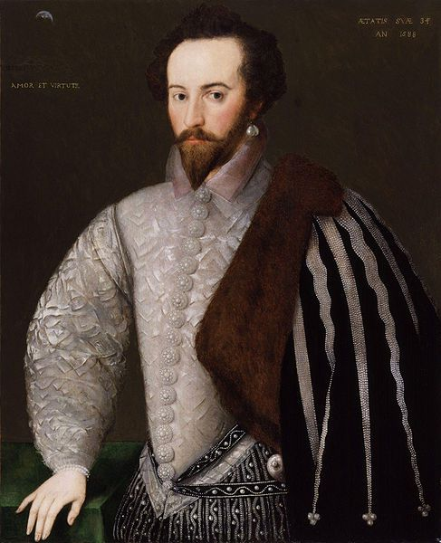 A 1588 portrait of Ralegh. Image from the National Portrait Gallery, London.
