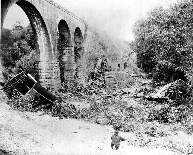 The wreck at Bostian Bridge. Image from the State Archives.