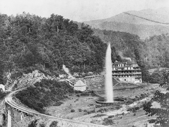 Andrews Geyser and Round Knob Lodge, ca. 1890s. Image from the North Carolina Collection at UNC-Chapel Hill.