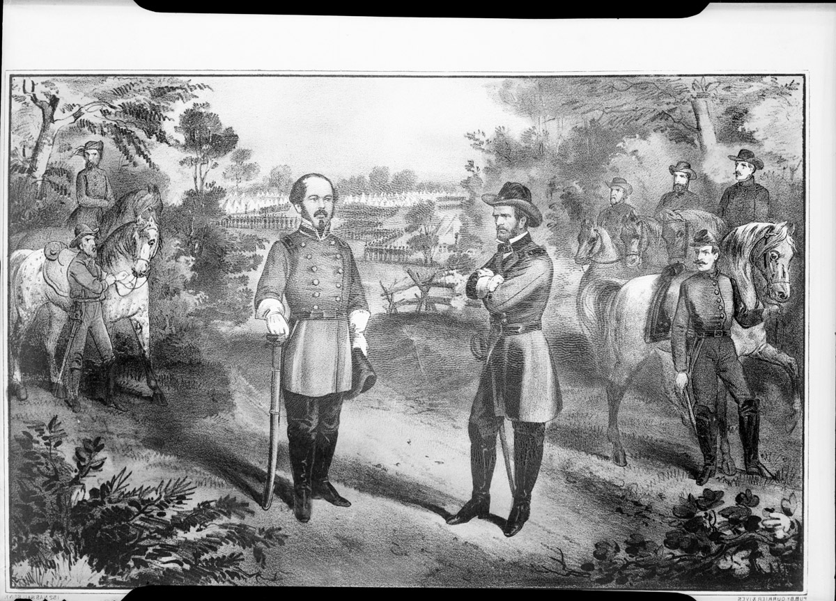 A painting of the surrender at Bennett Place. Image from the State Archives.