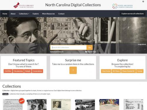 The homepage of the North Carolina Digital Collections