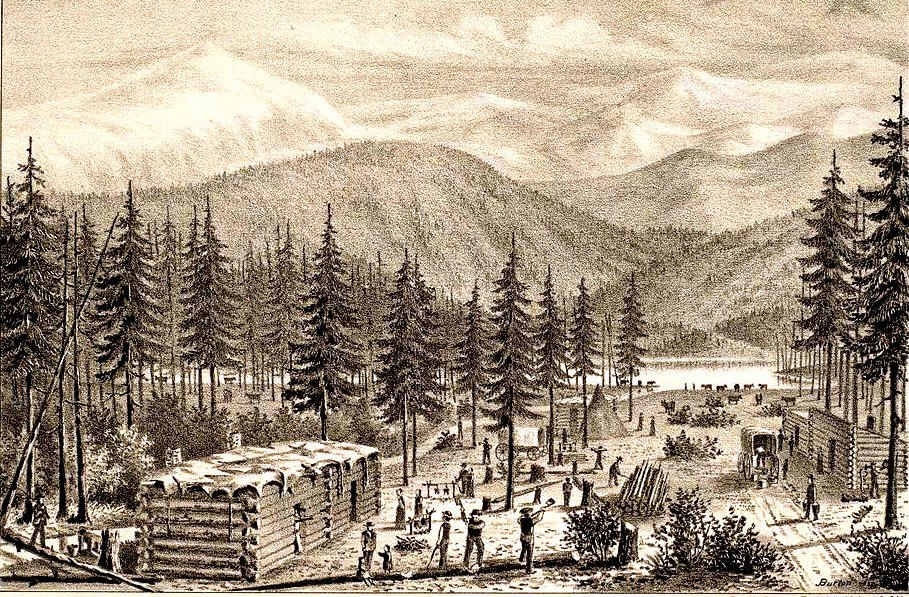A depiction of the Donner Party's winter camp published a few years after the event. Image from the Bancroft Library at UC Berkeley.