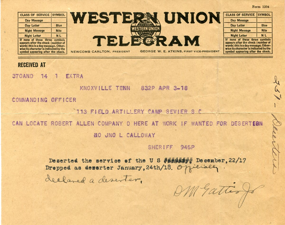 Deserters and Draft Evaders in WWI North Carolina | NC DNCR