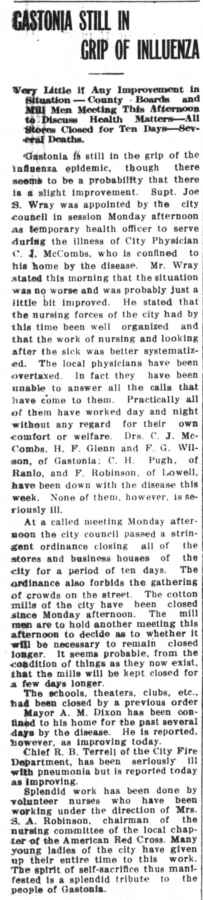 Roy Martin's November 1918 Spanish Flu Letter | NC DNCR