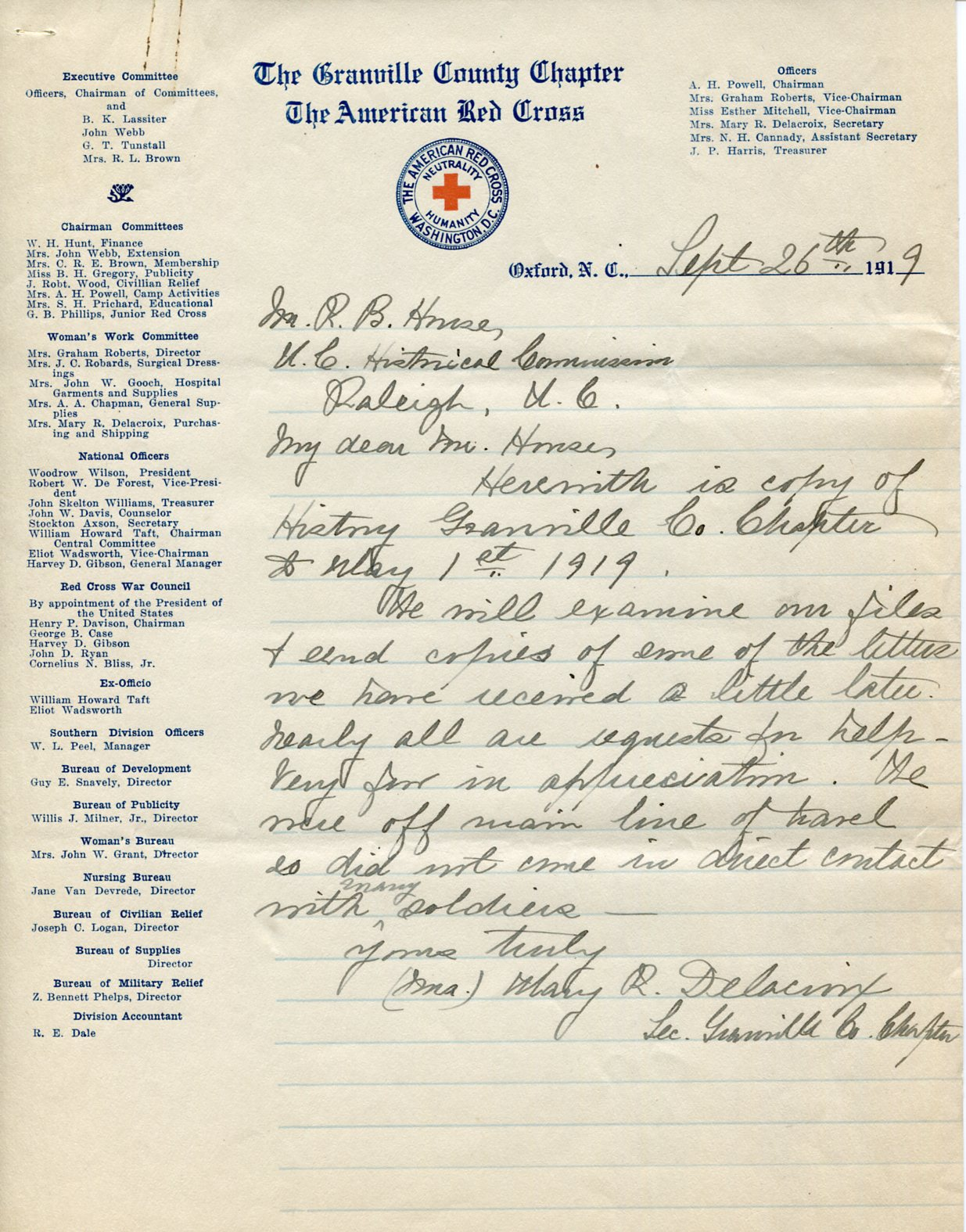 History of the North Carolina Red Cross WWI Chapter