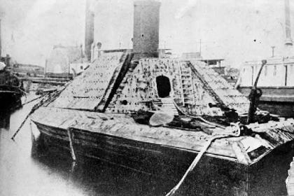 The last picture taken of the CSS Albemarle before being scrapped in 1867. Image from the N.C. Museum of History