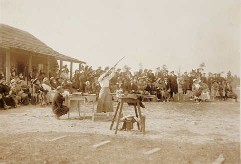 Annie Oakley shooting for a crowd in Pinehurst