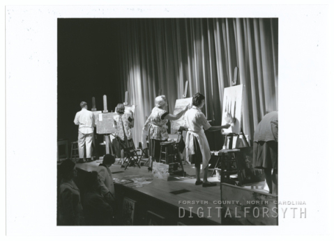 Student artists paint at the Arts Council of Winston-Salem and Forsyth County, circa 1964. Image from the Forsyth County Public Library.