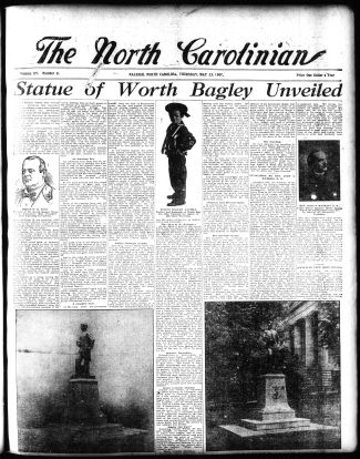 The front page of The North Carolinian, completely dedicated to the monument unveiling. Image from the State Archives.