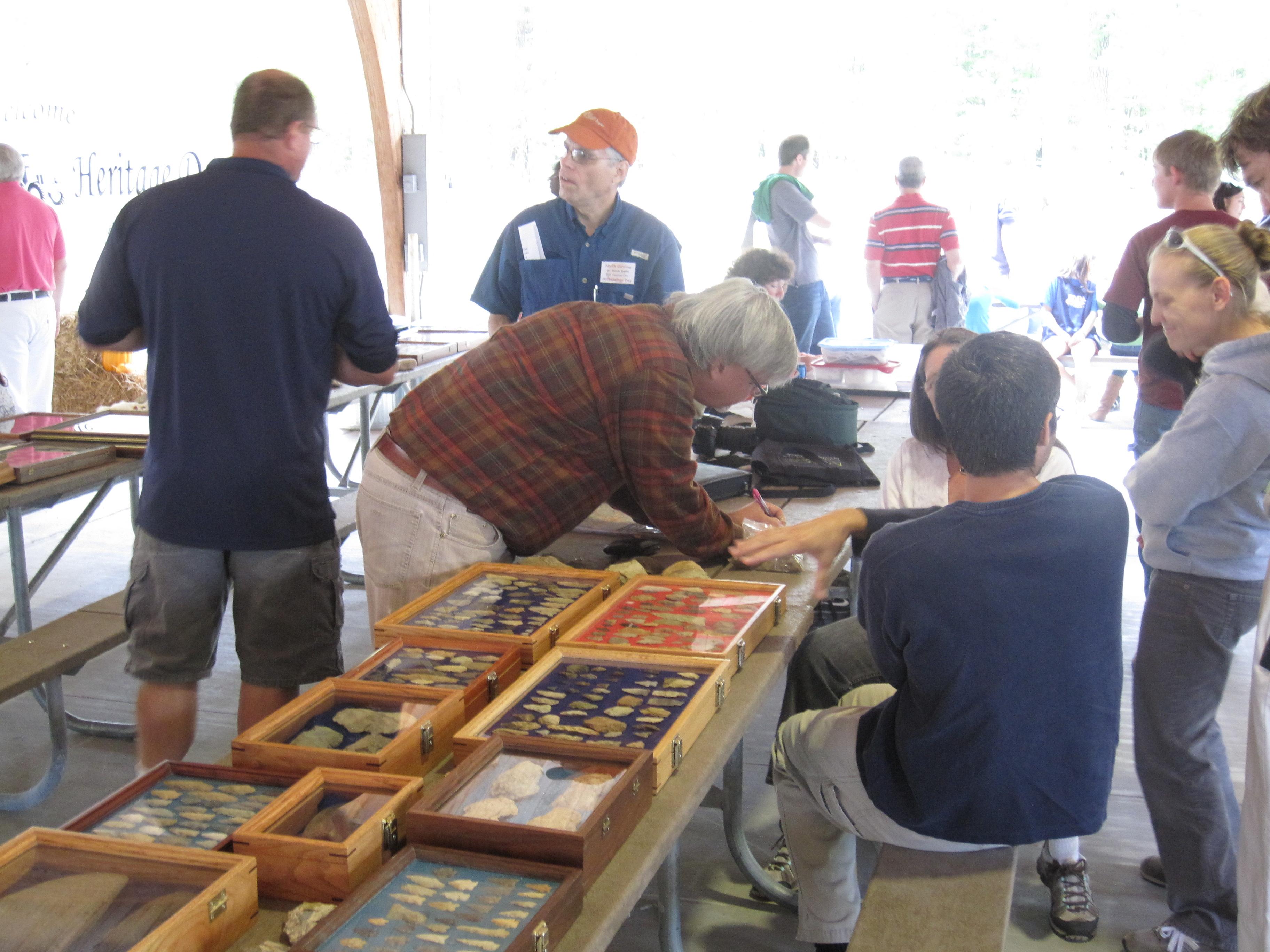 An archaeology display at Jordan Lake's Heritage Day