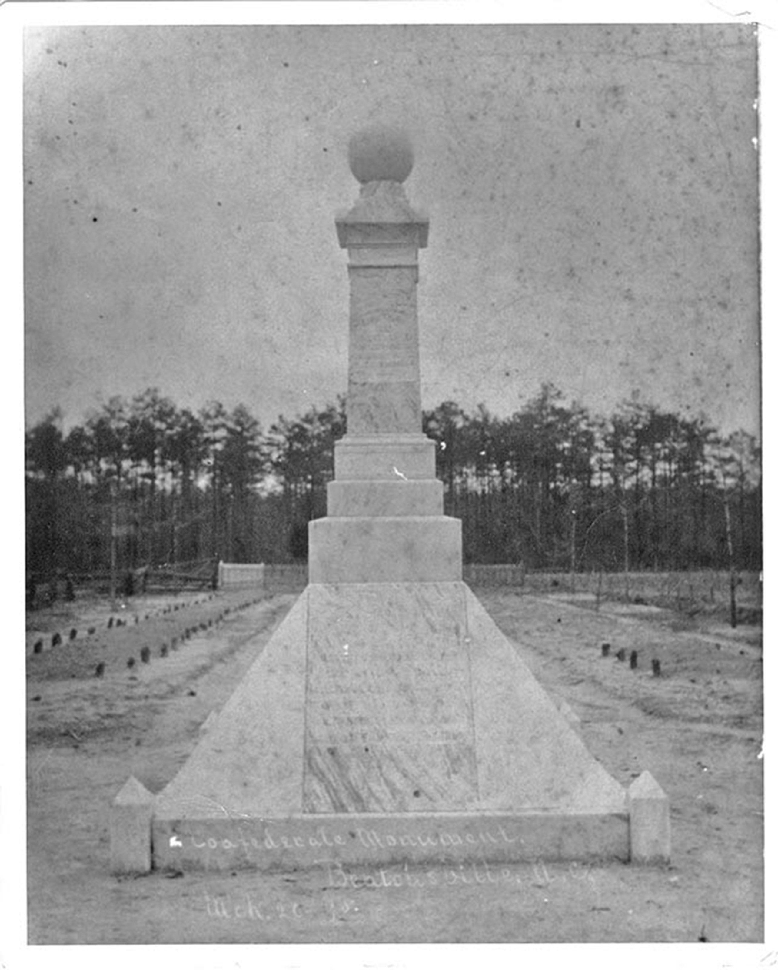 An 1895 photograph of the Goldsboro Rifles Monument that showed wooden grave markers led archaeologists to revise their search parameters