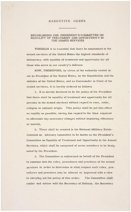 President Harry Truman's Executive Order desegregating the Army. Image from the National Archives.