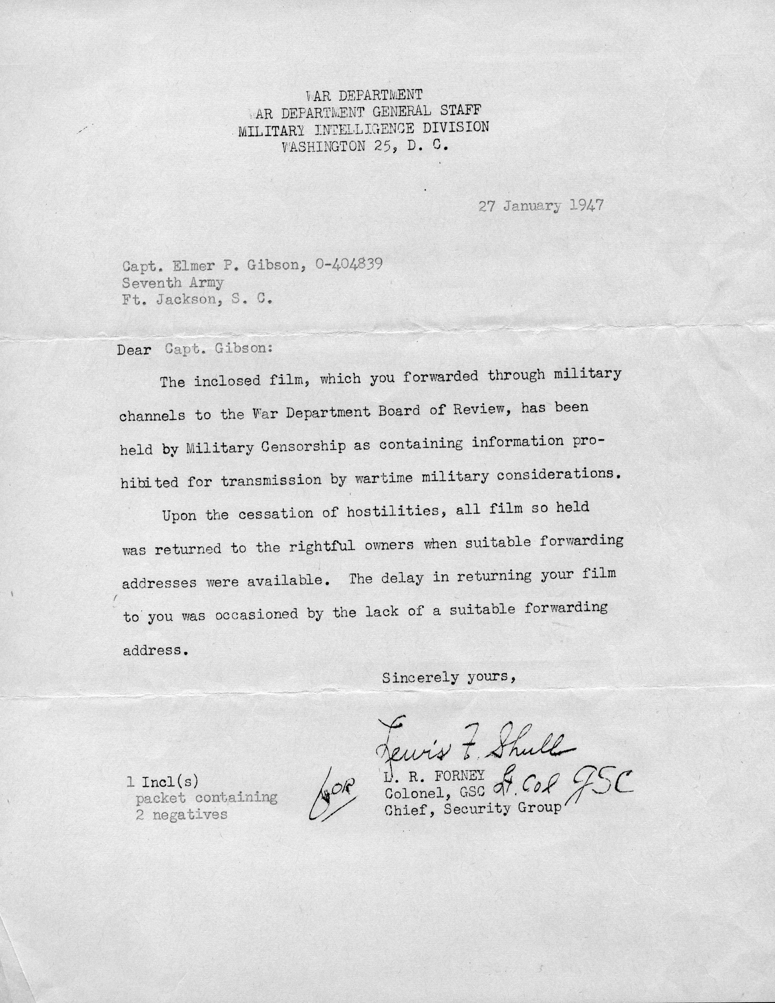 A letter to Elmer Gibson from a military censor.
