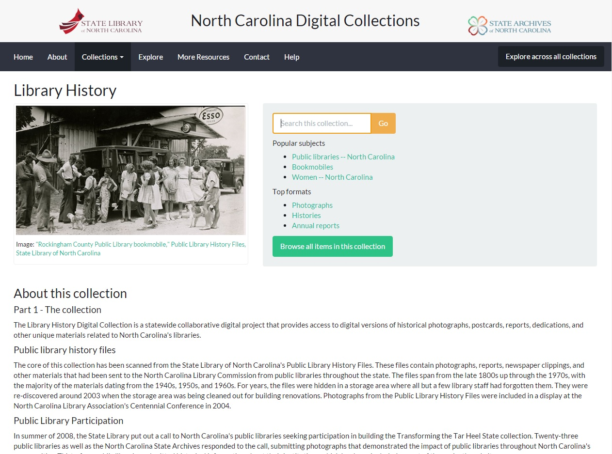 A screenshot of the Library History digital collection homepage