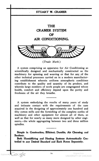 An ad for Cramer's air conditioning system in 1909 cotton industry periodical. Image from Google Books/University of Chicago Libraries.