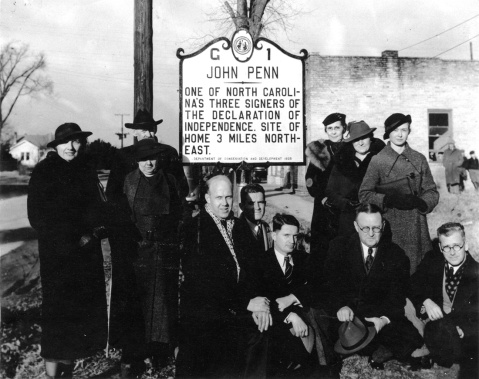 The first North Carolina Historical Marker Commemorating John Penn