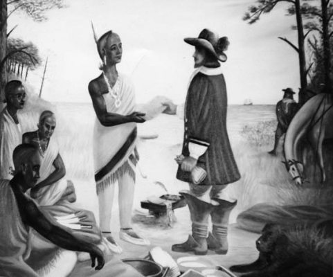 1953 Painting Showing George Durant receiving a deed, from the North Carolina Museum of History in Raleigh