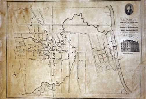 An 1825 map of Fayetteville. Image from the Library of Congress.