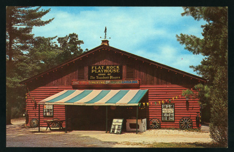A historical view of the Flat Rock Playhouse. Image from the New York Public Library.