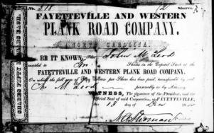 A certificate for a $50 share of the Fayetteville and Western Plank Road Company. Image from the State Archives.