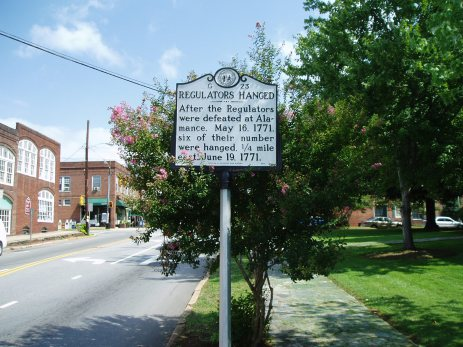 Regulators Hanged: After the Regulators were defeated at Alamance. May 16, 1771. Six of their number were hanged. 1/4 mile east. June 19, 1771.