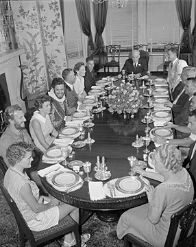 Gov. and Mrs. Hodges host a dinner party at the Mansion in 1958. Image from the State Archives.