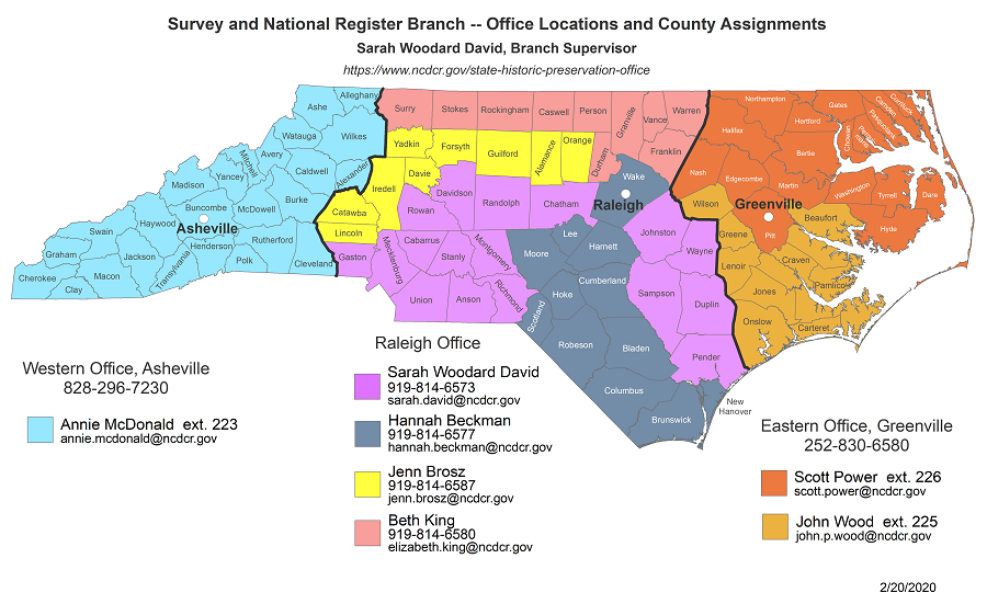 Survey and National Register Branch county assignment map