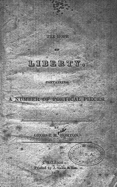 The cover of The Hope of Liberty. Image from UNC Libraries