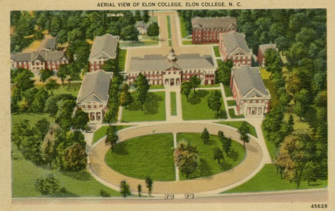 A circa 1923-129 postcard showing an aerial view of the Elon Campus.  Image from the Belk Library at Elon University.