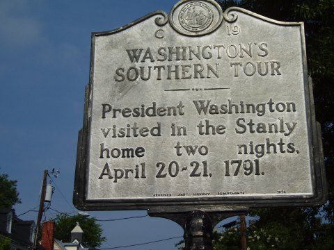 Washington's Tour: President Washington visited in the Stanly home two nights, April 20-21, 1791.