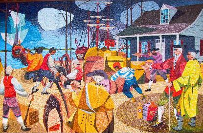 The Spanish Attack on Brunswick, a mosaic by Claude Howell, that hangs in the visitor center at Brunswick Town/Ft. Anderson.
