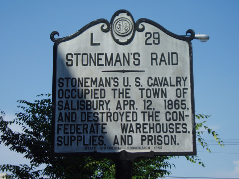 Stoneman's Raid: Stoneman's U.S. Cavalry occupied the town of Salisbury, APril 12, 1865, and destroyed the confederate warehouses, supplies and prison.