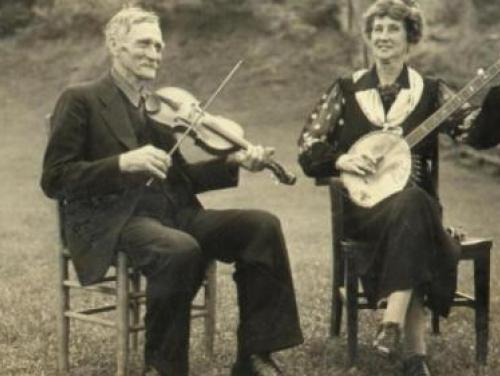 """Aunt Samantha"" Bumgarner plays at the Asheville Mountain Music Festival, circa August 1938"