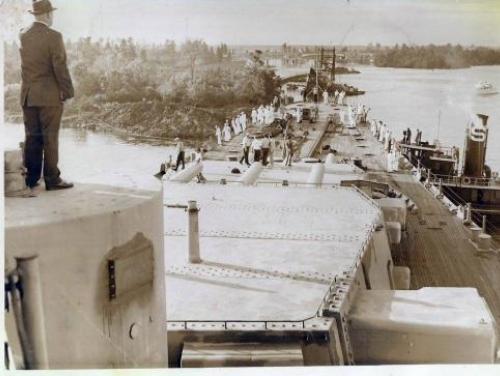 A historical shot of the Battleship North Carolina